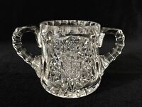 "American Brilliant Cut Glass Crystal Sugar Bowl, 3 1/4"" Tall x 5 7/8"" Widest"