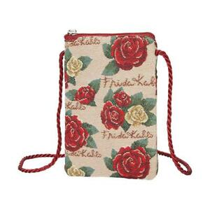 FRIDA KAHLO ROSE MINI CROSS BODY SMART BAG PURSE NECK POUCH WITH LONG CORD STRAP