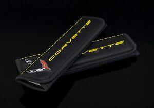 Auto Sitz Gürtel Schulter Polster Für Corvette C8 Schwarz Leder Bestickt Gelb