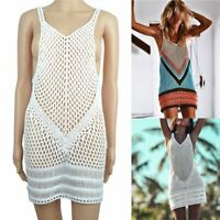 Women Sexy V-neck Hollow Out Cover Up Sleeveless Lace Crochet Knit Beach Dress