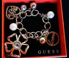 Guess Charm Bracelet ~ NIB ~ Gold Tone w/Rhinestones ~ Theme: Love & Hearts