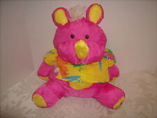 Vtg Fisher Price Plush Pink Puffalump Rhino Stuffed Animal Hawaiian Shirt 1987