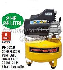 COMPRESSORE 24 25 LT OLIO ITALY 8 BAR 2 HP 2 MANOME 2 CONNET VERTICALE SALVASPAZ