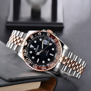 PARNIS GMT Two Tone Root Beer Rose Gold Automatic Men Watch Jubilee Band