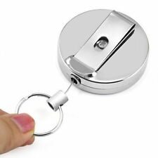 1x Retractable Key Chain Steel Recoil Key Ring Belt Clip Pull Metal ski Holder
