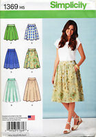 SIMPLICITY SEWING PATTERN 1369 MISSES SZ 14-22 FLARED SKIRT IN THREE LENGTHS