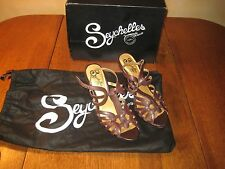 Seychelles Dark Brown Leather Red Eye strap heels