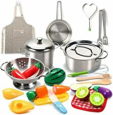 Pretend Play Kitchen Toys with Stainless Steel Cookware Pots and Pans Set Toys