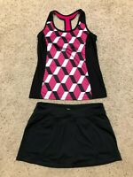 XERSION Black/Pink Racerback  FITTED TANK TOP size M &  CHAMPION SKORT SET G20