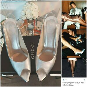 GUCCI Tom Ford Silver Spring Summer 2003 Ad Advert Runway Shoes Heels Size 38.5