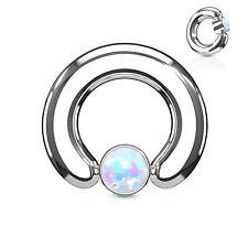 """w/Opal White 8mm Ball Steel Body Jewelry Captive Nipple Ring Heavy 2 Gauge 9/16"""""""