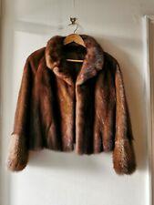 REAL MINK FUR SHORT CROPPED JACKET COAT IN CHESTNUT BROWN S