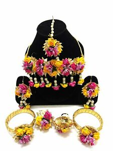 Flowers Floret Jewellery Gota Patti Set For Haldi Baby Shower Mehndi -Multicolor