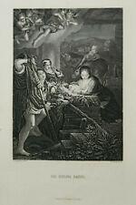 Kunst Stahlstich 1850-1900 Die Heilige Familie - Correggio pinx W French 23x31cm