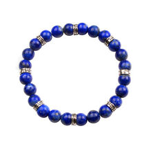 Natural 8MM Crystal Lava Stone Round Bead Bracelet Elastic Stretch Bangle Gift