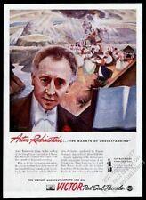 1943 Artur Rubinstein portrait Grieg Piano Concerto in A Minor theme Victor ad