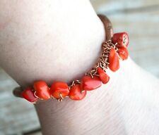 Red Coral Handmade Cuff Bracelet Copper Rustic Wire Wrapped Burning Man Boho
