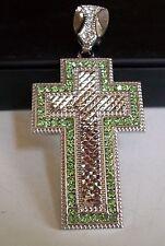 Men's Silver Finish Hip Hop Bling Green CZ Cross Religious Fashion Pendant