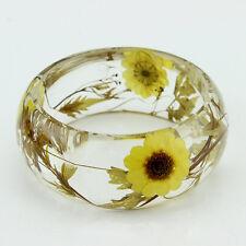 Handmade Real flower Botanical garden lucite bangle bracelet.{19}Free USA shipp.