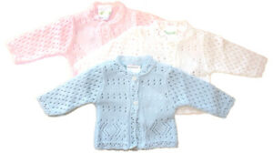 New Premature Baby Knitted Cardigan Girls Boys Pink Blue White 3-5 5-8 lbs