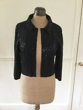 Fenn Wright Manson Black Sequin Wool Embroidered Cropped Jacket UK 12 BNWT