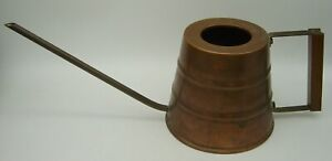 mid century copper and brass watering can with Teak handle