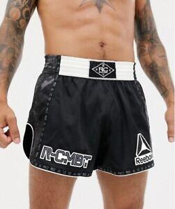 REEBOK COMBAT PRIME THAI SHORT Muay Kick Boxen UFC Fight Kampfsport Hose schwarz