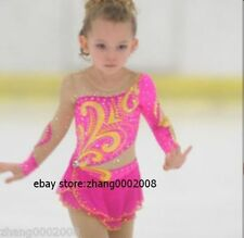 Ice skating dress. Pink Competition Figure Skating /Baton Twirling dress child10