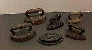 Vintage miniature sad iron/salesman sample irons.. lot of six