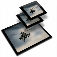Glass Placemat  & 2x Coaster  - Helicopter Military Aircraft  #16265