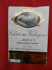 étiquette de vin Château Valvignes Bordeaux 1995