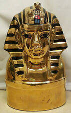 "Vintage Egyptian Sphinx Decanter Black & Gold 11"" Tall Egypt Figure"