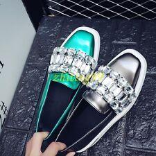 Womens Fashion Luxury Rhinestone Creepers Platform Loafers Slip On Sneaker Shoes