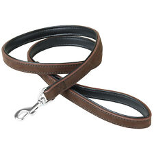 More details for 1.6cm x 100cm brown/black genuine leather strong puppy/dog walking leash/lead 1m