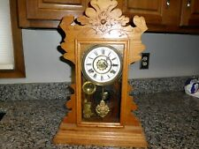 Antique Vintage Decorative Wood Art Mantle Clock- Pendulum - 15� W x 22.75� H