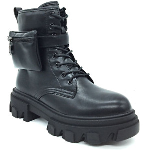 Women's Shoes Boots Combat Boots Platform Boots Black Biker Eco-Leather