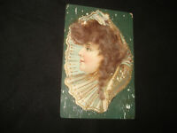 Vintage Antique early 1900s woman with doll hair photo postcard unused Germany