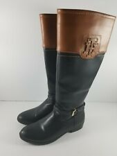 Tommy Hilfiger Boots Size 6/6.5 Brown Black Logo Zip Up Knee Tall Riding Buckle