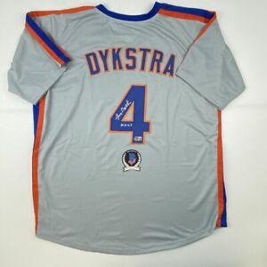Autographed/Signed LENNY DYKSTRA Nails New York Grey Baseball Jersey Beckett COA