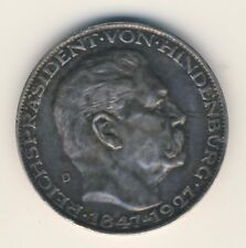 Medaille Hindenburg 1927 D 900 Silber K. Goetz Deutschen Reichs Treuster Diener