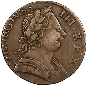 1775 Non-Regal George III Halfpenny ~ Die Axis 150 Deg. ~ USA Colonial Interest