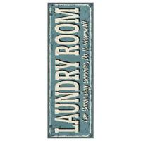 """Laundry Room Rug Nonslip Runner Mat 20"""" x 59"""" Durable Stain Resistant - Blue"""