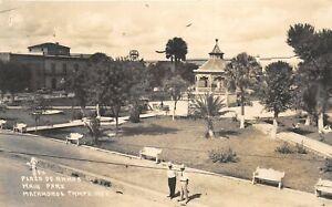 H71/ Foreign Postcard Matamoros Tamps Mexico RPPC c1940s Plaza 80