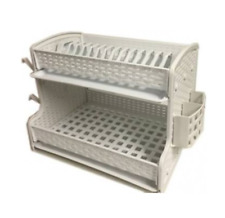 Kitchen 2 Two Tier Dish Drainer Dual Drip Tray Cutlery Cup Rack Holder White