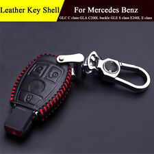 Leather Key Chain Key Bag Case Fob Holder For Mercedes Benz GLC C class 3 Button