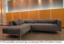 2PC Dark Gray Microfiber Modern tufted Sectional Sofa #1701 (Small Version)