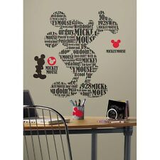 TYPOGRAPHIC MICKEY MOUSE WALL DECALS New Giant Kids Bedroom Stickers Room Decor