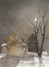 Working Late by Ray Hendershot Art Print Poster Barn Farm Moon Landscape 22x28
