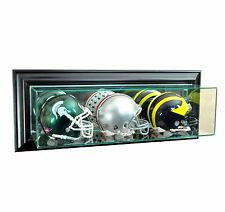 New Wall Mounted Triple Mini Helmet Glass Display Case UV Black Molding Made US