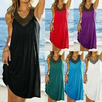 Women Summer Boho Casual Long Maxi Evening Party Sleeveless Beach Dress Sundress